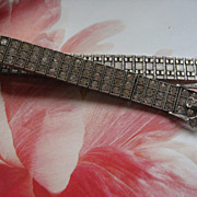 Art Deco Sterling Paste Bracelet  Diamonbar 1917