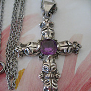 Mexican Sterling Cross Simulated Alexandrite