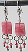 Sterling Silver Earrings with Watermelon Glass and Swarovski Crystals
