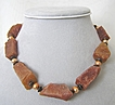 Shades of Orange Necklace: Chunky Red Aventurine with Peach Freshwater Cultured Pearls and Antiqued Copper