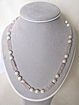 Necklace with Rose Quartz Cubes and Iridescent White Vintage Beads