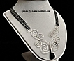 Sterling Silver Scroll Necklace with Black Onyx Teardrop