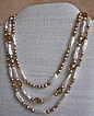 Three Strand Necklace with Cultured Freshwater Stick and Potato Pearls and Vintage Crystals