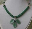 Green Aventurine Carved Leaves Pendant on Netted Seed Bead Rope