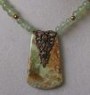 Green and Copper Necklace:  Serpentine, Copper Swarovski Simulated Pearls, Jasper Pendant with Vintaj Brass Filigree