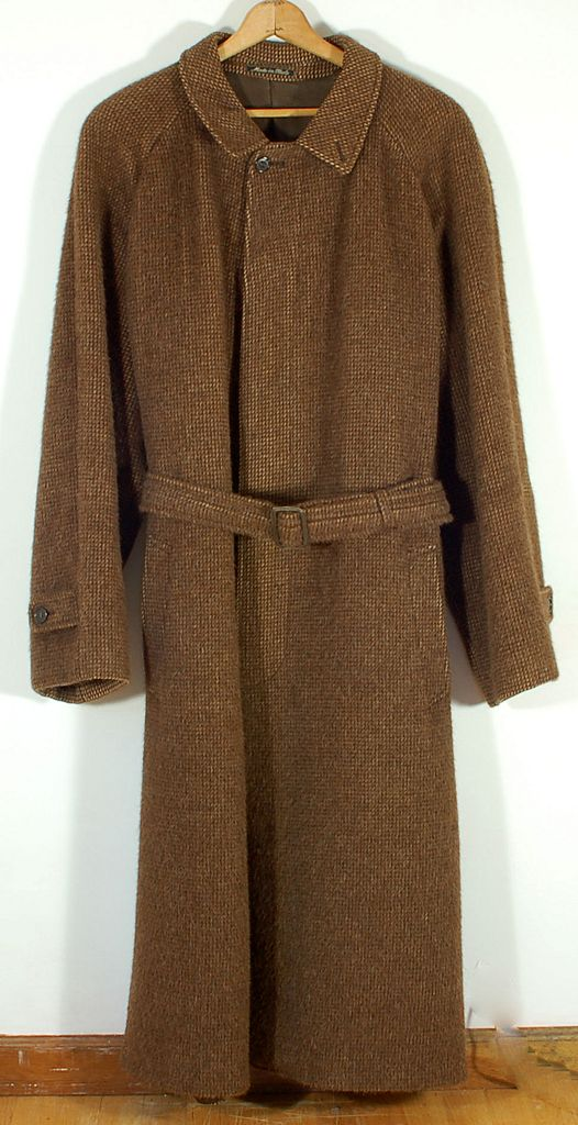 Vintage 1970's Giorgio Armani 100% Alpaca Brown Men's Coat Overcoat Topcoat