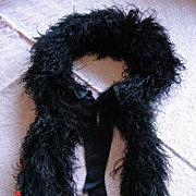 Antique Victorian Black Ostrich Feather Boa