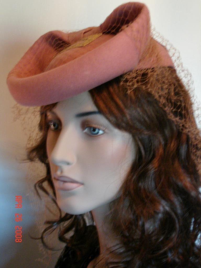 Sophisticated 1940's Vintage Hat with Matching Veil and Gold Buckle