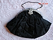 1930 Art Deco Purse Black Satin Damask Evening Bag