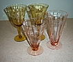 Set of 4 Etched Pattern Crystal Glasses