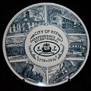 SALE Bicentennial Plate City Of Rye NY  Kettlesprings Kilns