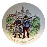 SALE Sarreguemines hand Colored Story Plate