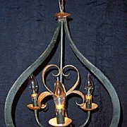 SALE Vintage Iron and Gilt 3 Light Chandelier Fixture
