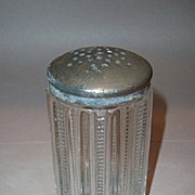SALE Depression Glass Range Shaker with Star Pattern Metal Lid