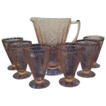 Jeannette Glass Depression Glass Pink Floral or Poinsettia Beverage Set