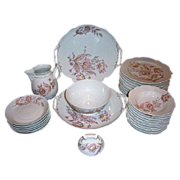 SALE Antique Pink Floral China Set B.S.M. Brothers Schwalb Czech Republic 1882-1891