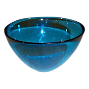 SALE Orrefors Fuga Blue Crystal bowl by Sven Palmqvist