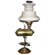SALE Rare Antique Student Lamp with Custard Glass Shade