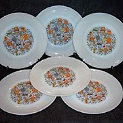 SALE Set of 6 Anchor Hocking 'Homestead' Dinner Plates