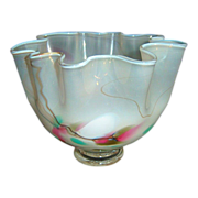 SALE Opalescent Signed Handkerchief Vase