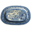 Antique 18th C Huge Transferware Blue Willow Tray Platter