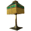 Early Arts and Crafts Mission Brass Lamp with Green Slag Glass Shade