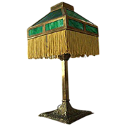 SALE Early Arts and Crafts Mission Brass Lamp with Green Slag Glass Shade