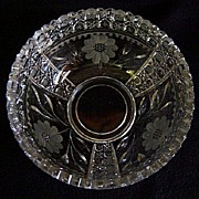 SALE Pretty EAPG Crystal Bowl with Floral pattern