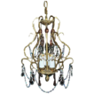 Beautiful Brass Cage Style Crystal Chandelier