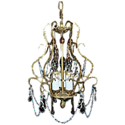 SALE Beautiful Brass Cage Style Crystal Chandelier