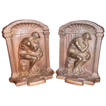 Heavy Cast Iron Bookends The Thinker Signed Bronmet
