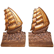 SALE Bradley & Hubbard B&H Cast Iron Ship Bookends