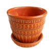 1950's McCoy Leaf and Bead Burnt Orange Flower Pot