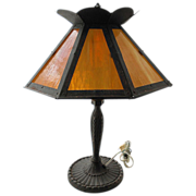SALE Pittsburgh Lamp with Caramel Slag 8 Panel Shade