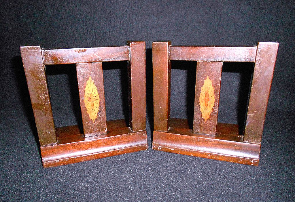 Inlaid Wooden Bookends