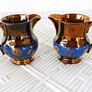 SALE Pair of Small Copper Luster Pitchers Creamers