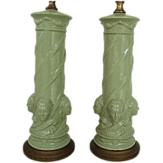 SALE Pair of Unusual Celadon Grecian Relief Lamps by Rembrandt