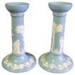 Pair of Wedgwood Candlestick Holders - Blue Queen's Ware