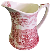 SALE Alfred Meakin Pink/Red Transferware Pitcher Reverie Pattern