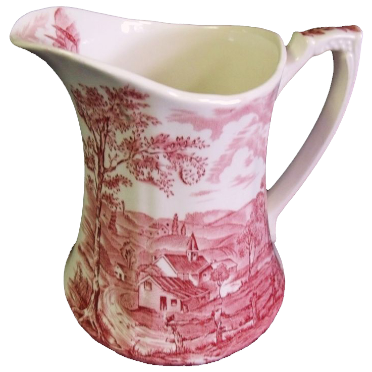 Alfred Meakin Pink/Red Transferware Pitcher Reverie Pattern