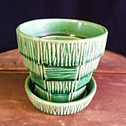 SALE McCoy Basket weave Shingle Green Flower Pot