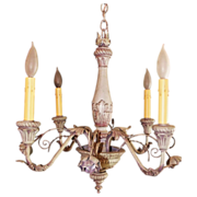 SALE Vintage Painted Tole 4 light Chandelier Fixture