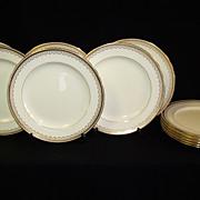 SALE Set of 12 Antique Minton Gold Decorated Plates for Davis Collamore NY