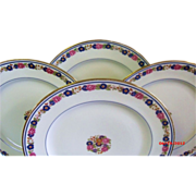 SALE Set of 6 Antique Floral Plates by A. Ahrenfeldt Limoges for Ovington Bros.