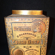SALE Antique Dr. White's Celebrated Cough Drops Litho Tin
