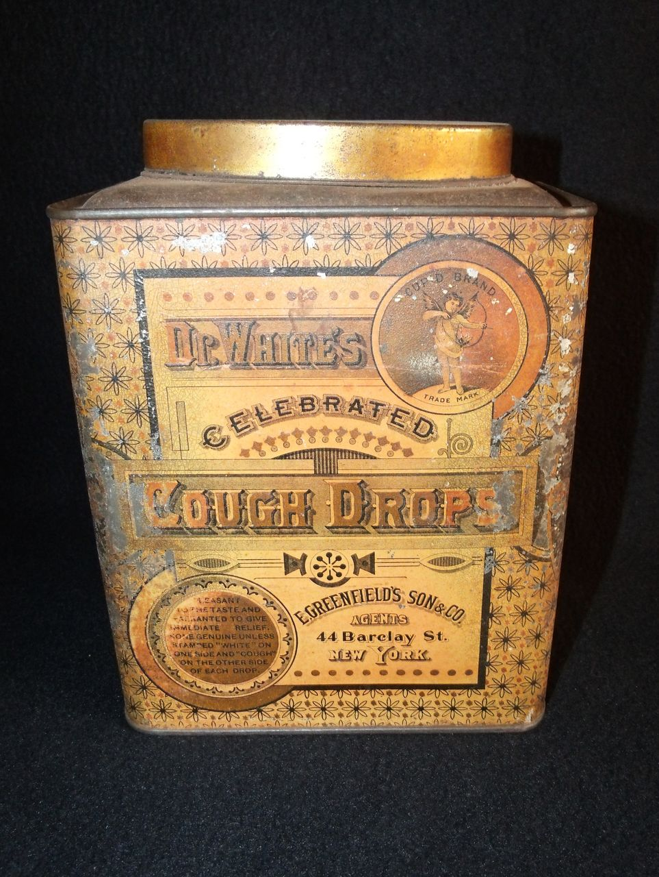 Antique Dr. White's Celebrated Cough Drops Litho Tin