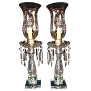 SALE Pair of Tall Crystal Electric Mantle Hurricane Lamps