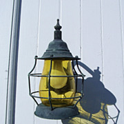 SALE Exterior Lantern Style Sconce with Yellow Glass