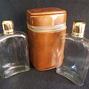 SALE Vintage Flask Set with Case