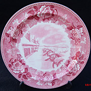 SALE Wedgwood Pink Transferware Historical Plate Fort Ticonderoga Winter Scene